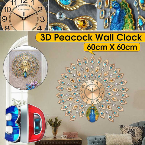 Image of DIY 3D Special Shaped Diamond Painting Wall Clock Kit 60X60cm