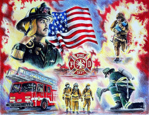 Image of DIY 5D Diamond Painting Kit - American Firefighter