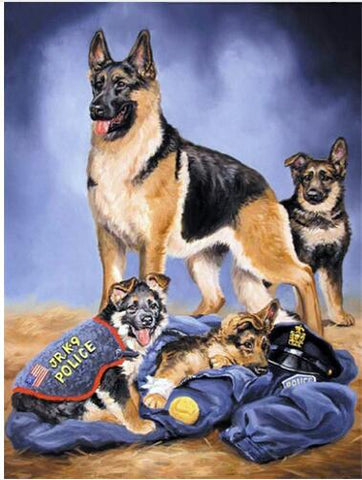 Image of 5D DIY Diamond Painting Kit - Police Dog k-9