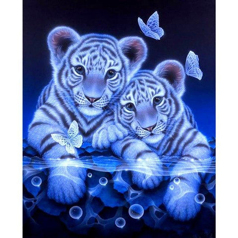 Image of Tiger Twins | 5D DIY Diamond Art Painting Kits Cross Stitch Decor Diamond Art Painter Blue 30*30cm China