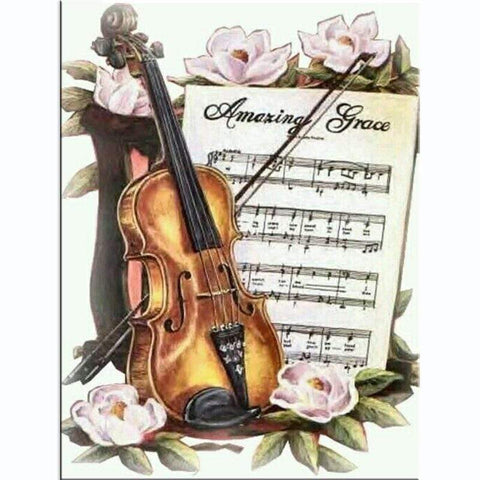"""Violin and Music Sheet"" 