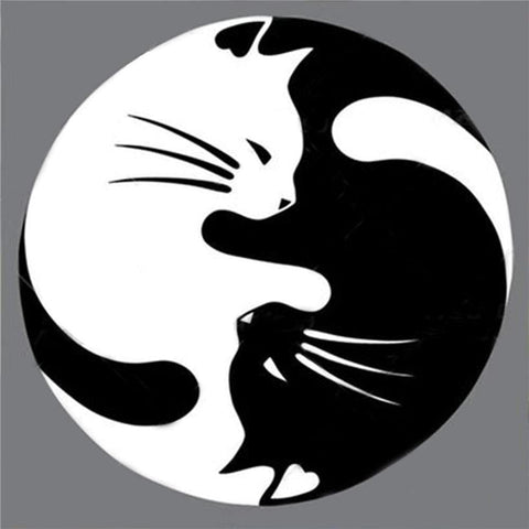 Image of Yin Yang Cats-(DIY) Full Drill 5D Diamond Painting Kit Cross Stitch Home Decor Diamond Art Painter