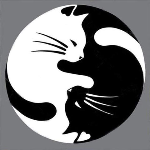 Image of Yin Yang Cats-(DIY) Full Drill 5D Diamond Painting Kit Cross Stitch Home Decor Diamond Art Painter A 30*30cm China