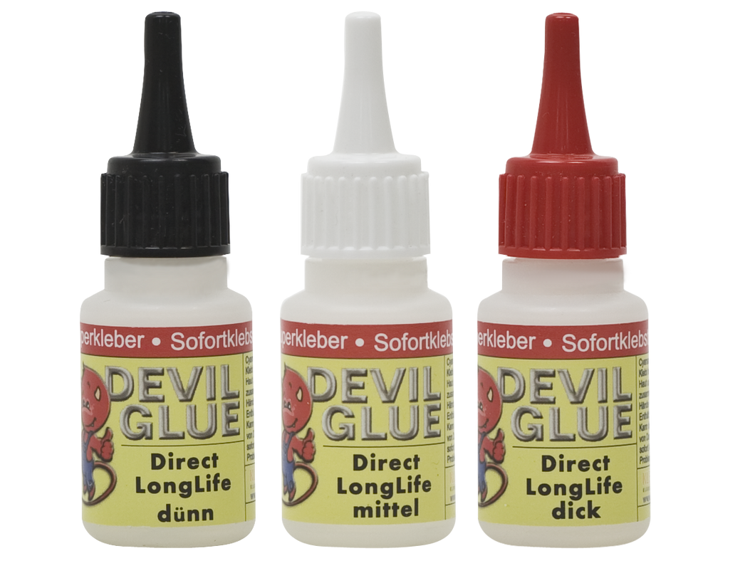 DEVIL GLUE Direct-Home Longlife 3x20g **dick, mittel, dünn** (Modellbaukleber, Bastelkleber)