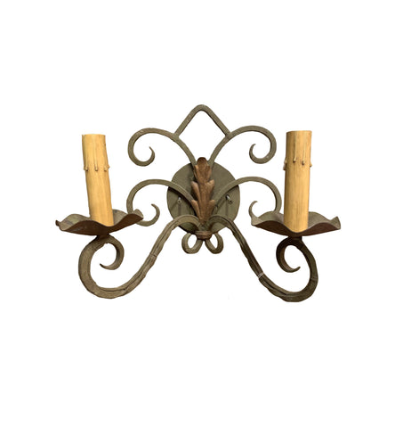 2 Light Iron Green Sconce