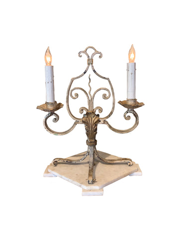 French Tabletop Candelabra with Marble Base