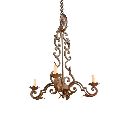 4 Light Scroll Iron Chandelier