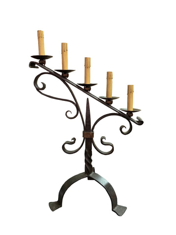 5 Light Iron Table Candelabra
