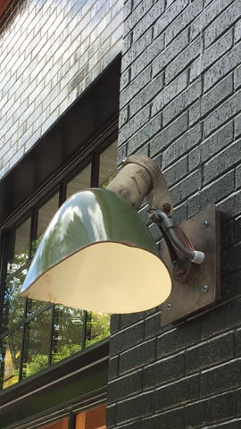 Exterior Industrial Green Light Fixture