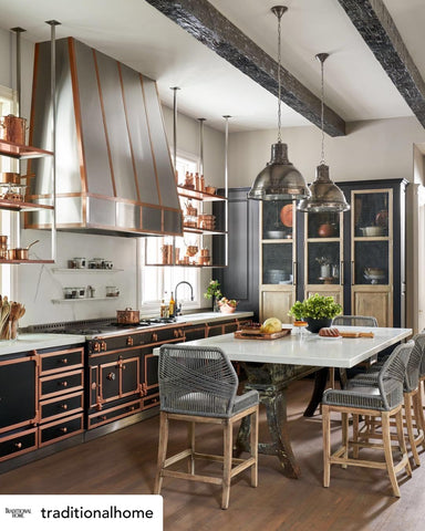 European Kitchen with Lathe Table Base and Industrial Pendants