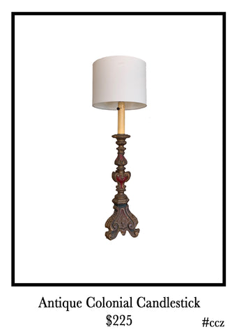 Antique Colonial Style Candlestick Lamp