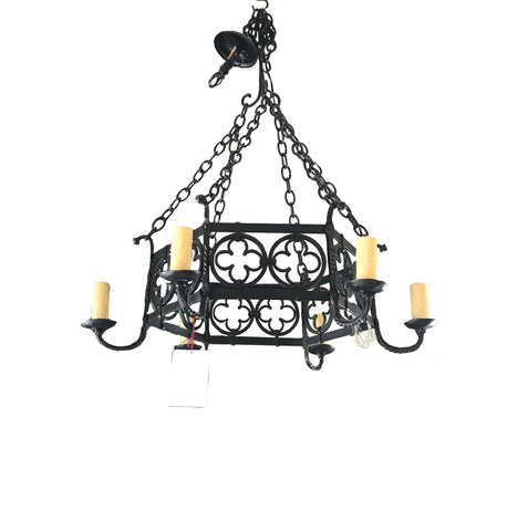 6 Light Iron Chandelier with Quatrefoils