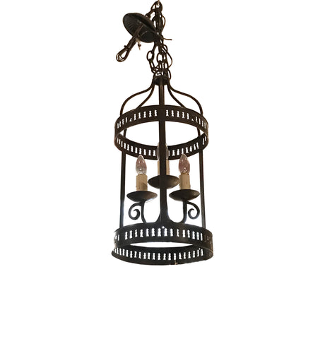 3 Light Pierced Iron Lantern