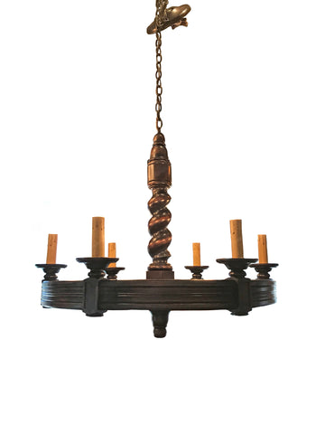 6 Light Ribbed Wood Chandelier with Twisted Pedestal