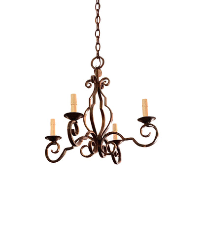 4 Light French Iron Chandelier