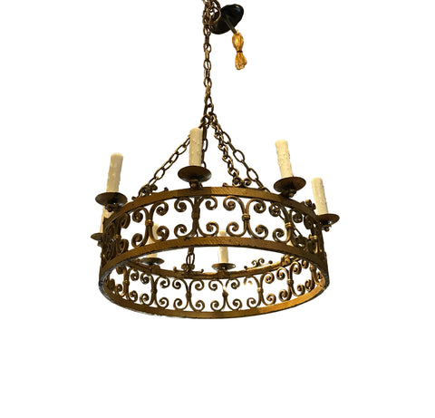 Vintage 8 Light Iron Gold Scrolled Chandelier