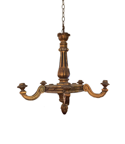 4 Light Gold Wood Carved Chandelier
