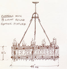 Sketch of Chandelier for Great Room in HGTV Smart Home 2019