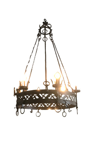 6 Light Ornate Iron Gothic Chandelier