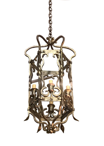 Vintage 6 Light European Gold Lantern, Covered Exterior or Interior