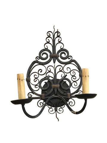 2 Light Iron Scrolled Sconce