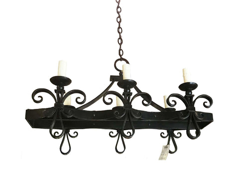 6 Light Iron Fleur De Lis Chandelier