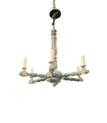 6 Light Painted White Wood Chandelier