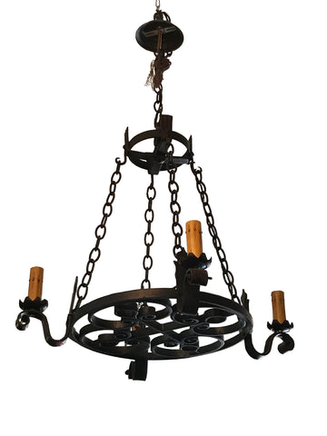 4 Light European Iron Chandelier