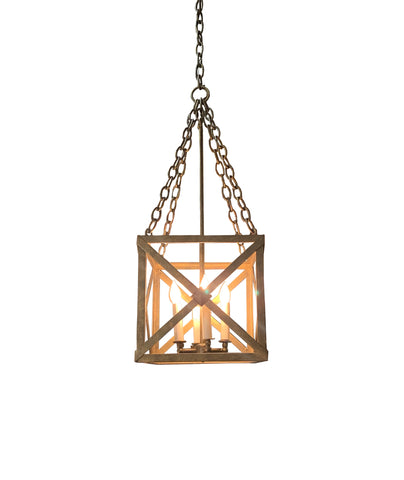 Square Iron Lantern for Covered Exterior or Interior Use
