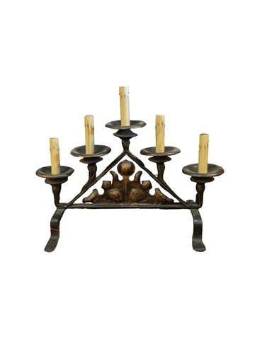 5 Light Iron Tabletop Candelabra