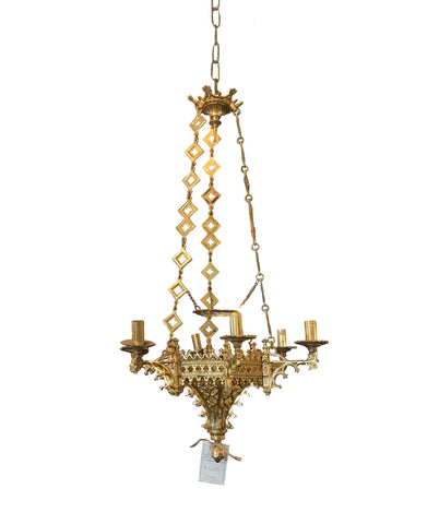 6 Light Ornate Iron Gold Chandelier