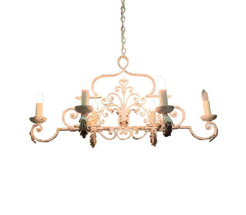 6 Light White Iron Chandelier, Kitchen Island Light