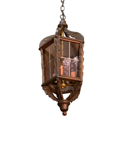 Wood Lantern with Wavy Glass, Pendant Light