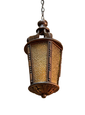 Wood Lantern with Yellow Pebbled Glass
