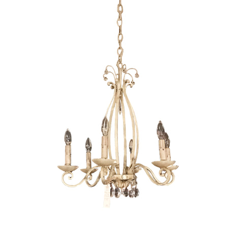 6 Light White Iron Chandelier with Crystals