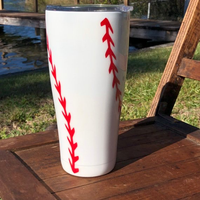 Baseball Tumbler, Personalized, Glitter, Double Wall, Stainless