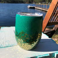 Teal and Gold glitter Wine Tumbler, Stainless Steel, Double Wall, Glitter