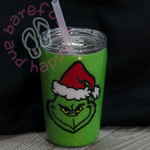 Grinch Tumbler, Personalized, Glitter, Christmas