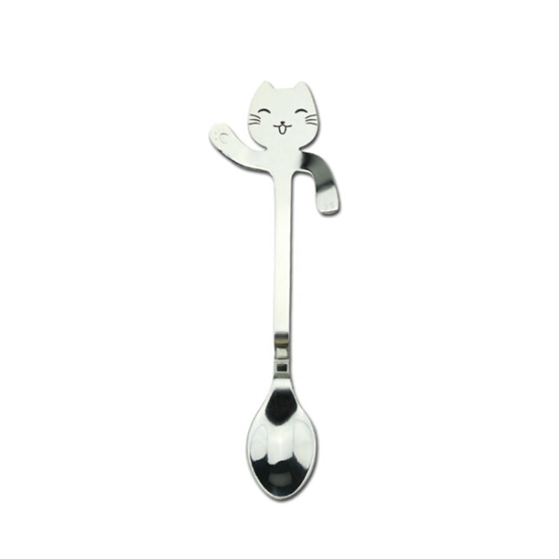 Lucky cat stainless steel spoon