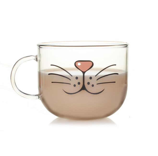 Novelty Glass Cup Cat Face Mugs