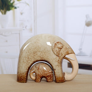 Primeval Style Mother and Child Elephant Ceramic