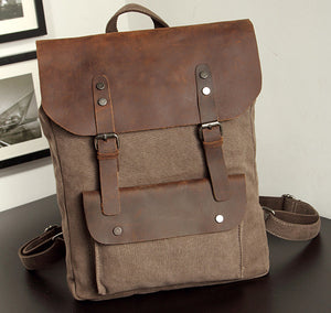 Fashion Backpack Leather Canvas men backpack