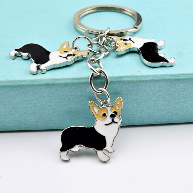 Metal PET Key Chain welsh Corgi Dogs Key Ring