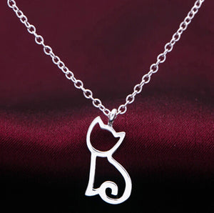 Unique design Silver plated Funky Cute Kitty Cat necklace