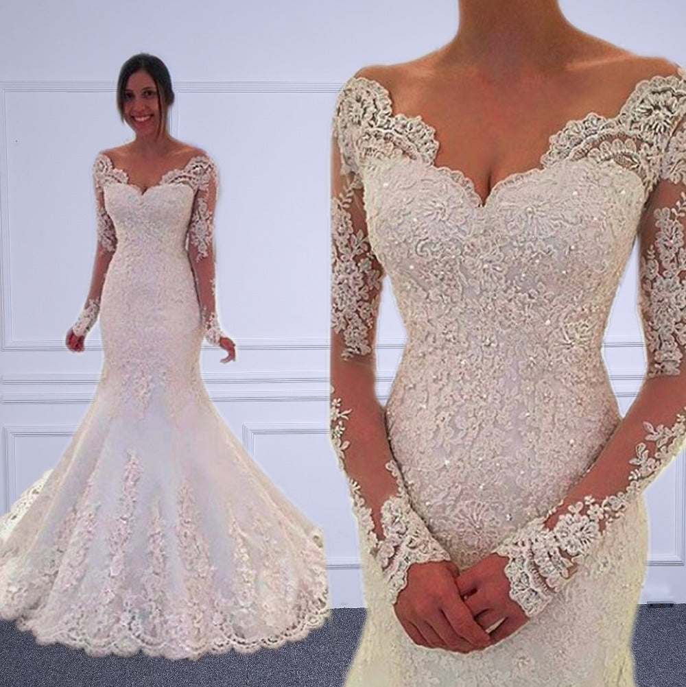 Long Sleeves Mermaid Wedding Dresses Sheer