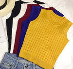 Summer Women Slim Knitting Cropped Tank Tops