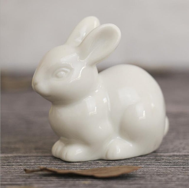 Cute Mini white ceramic rabbit Crafts Figurines