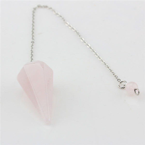 Natural Rock Pink white Quartz Crystal Stone Hexagon Pyramid Reiki Pendulum