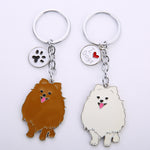 NEW Fashion Jewelry White/ Brown Pomeranian Keychain