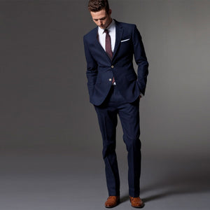 Custom Made Dark Blue Men Suit,